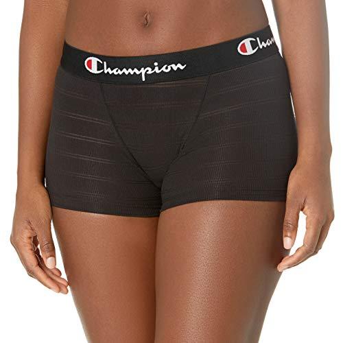 Champion Women's Ribbed Boxer Brief, Black, Medium