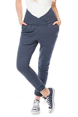 GoFuture Damen Umstandshose 2in1 Love GF2393XB in Jeans mit weißen Dreiecken auf Marine