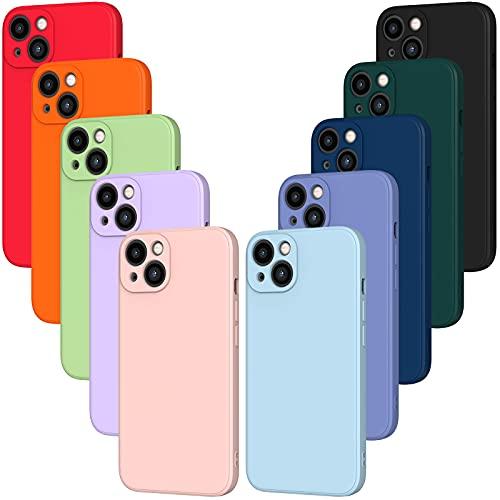 iVoler 10x Custodia Cover per iPhone 13, Sottile Morbido TPU Silicone Antiurto Protettiva Case (Nero, Blu, Azzurro, Azzurro, Verde Scuro, Verde, Arancione, Rosso, Rosa, Viola)