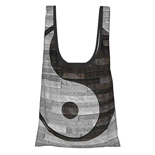 VimcustomPr Ying Yang Decor Collection Minimalista tradicional asiático Ying Yang en suelo de madera rústica efecto moderno estilo negro gris reutilizable plegable bolsas de compras ecológicas