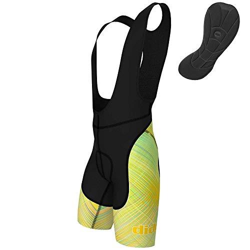 Didoo Hommes Cuissard Cyclisme, Coolmax Rembourré Cyclisme Pantalon avec Sublimation, Anti-bactérien/Anti-dérapage, Évacuation de L'Humidité Performance - Jaune, Medium