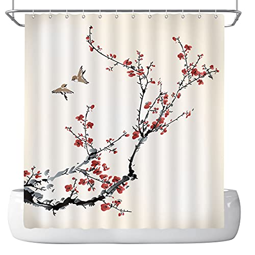 DePhoto Floral Shower Curtain for Bathroom red Pink Cherry Blossom Plum Blossom Bird Ink Art Decoration Accessories Polyester Fabric Waterproof with 12 Hooks 72x72 Inch