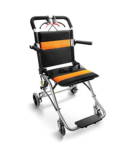 Portable Lightweight Wheelchairs Transport Folding Light Aluminium Travelling Wheelchair with Handbrake for Adults or Child (Orange Tube)