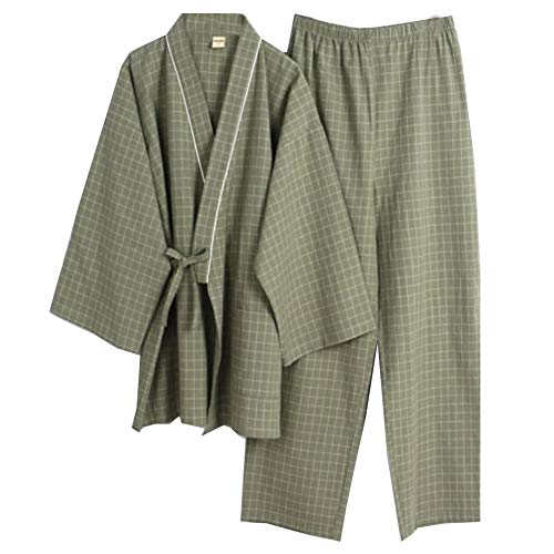 Trajes de Estilo japonés de los Hombres Traje de Pijama de algodón Puro Kimono Pijama Set- # 06