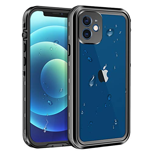Lamcase Compatible with iPhone 12 Waterproof Case Built-in Screen Protector IP68 Underwater Sealed Full Body Protective Shockproof Dustproof Cover for Apple iPhone 12 6.1 inch 2020, Black/Clear
