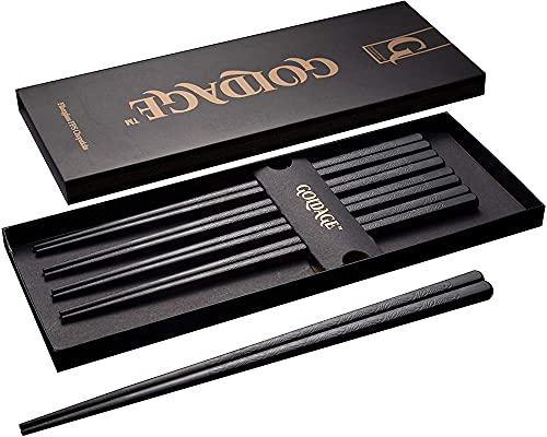 Goldage 5 Par Fiberglas Chopsticks Diskmaskin Säker (Japansk minimalism - Herbal Blade)