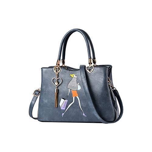 Tisdaini Bolsos de Mano Mujer Moda impresión Bolsos Bandolera Bolsos Totes Shoppers y Bolsos de Hombro Azul