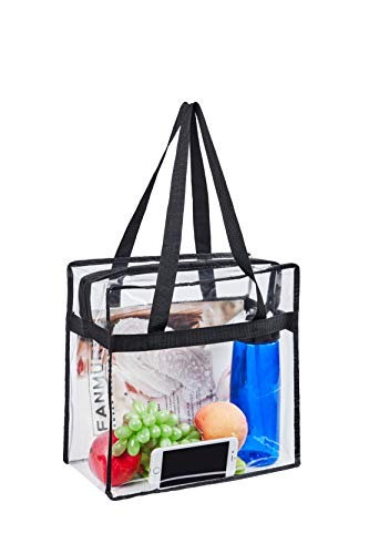 """Stadium Approved Clear Tote Bag, Sturdy PVC Construction Zippered Top, Stadium Security Travel & Gym Clear Bag, Perfect for Work, School, Sports Games and Concerts 12""""X12""""X6"""""""