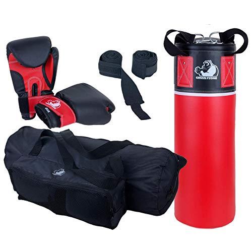 ScSPORTS Grizzlyzone Box-Set für Kinder und Jugendliche, mit Boxsack, Boxhandschuhen, Boxbandagen und Tasche 5,5 kg, Rot Schwarz