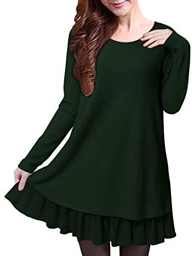 ZANZEA Jersey Mujer Invierno Largo Vestidos de Encaje para Vestido Lazo Elegant Fiesta de Noche Suéter Suelta Verde Oscuro XL