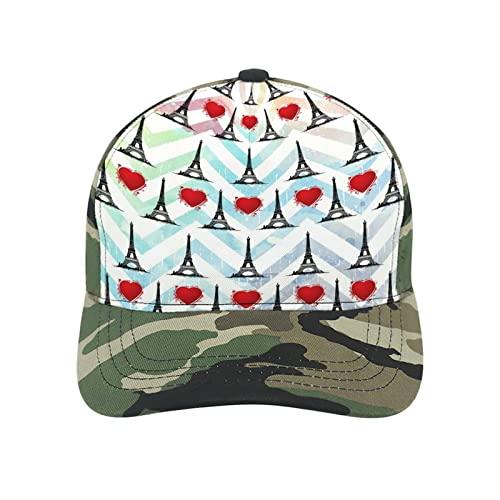 Gorra de béisbol con diseño de torre Eiffel de París, diseño de flor de mariposa, gorro de algodón de poliéster para papá, unisex, Camouflage-love French Paris Eiffel Tower Red Hearts Str, S/L