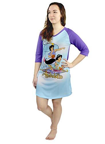 Disney Aladdin Princess Jasmine Women's 3/4 Sleeve Dorm Nightgown Pajamas (Large, Blue/Purple)