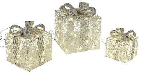dekojohnson - Cajas de regalo decorativas LED con lazos, 3 unidades Con adaptador para iluminación navideña en...