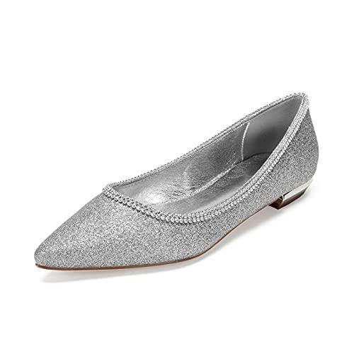NYPB Slip-on Bailarinas Zapatos para Mujer Tobillo Nupcial Sandalias de Boda Planos Saludar Vestir Zapatos de Punta Puntiaguda,Plata,39 EU