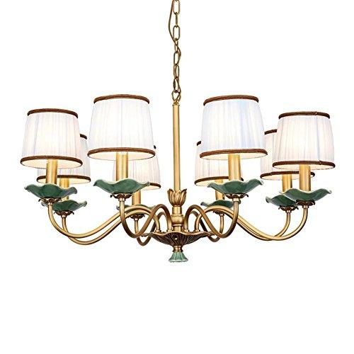 LLF Retro Kupfer Kronleuchter mit Lampenschirm amerikanischen Stil Dorf Keramik E14 Decke Pendelleuchte für Schlafzimmer Wohnzimmer Restaurant (6 Glühbirnen, 8 Glühbirnen) (Color : 8bulbs)