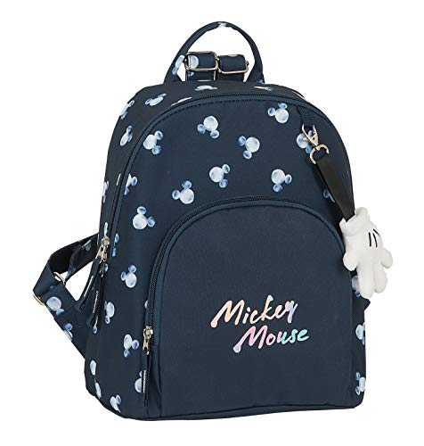 Safta Mini Mochila Mickey Mouse Moon,250x130x300mm, Azul Marino, M (M846)