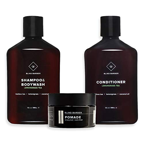 Blind Barber Hair Care Travel Kit - 3-Piece Set Includes Full-Size Lemongrass Tea Shampoo & Bodywash, Full-Size Conditioner & Travel-Size 90 Proof Pomade Matte Styling Paste - Hair Care for Guys