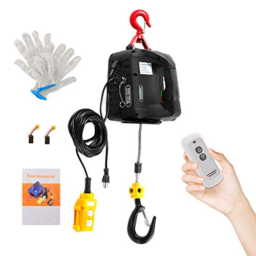 BEAMNOVA 3 in 1 Portable Electric Hoist with Wired & Wireless Remote Control 500kg/1102lbs Capacity Crane Winch Hook Pulley Lifting Strap