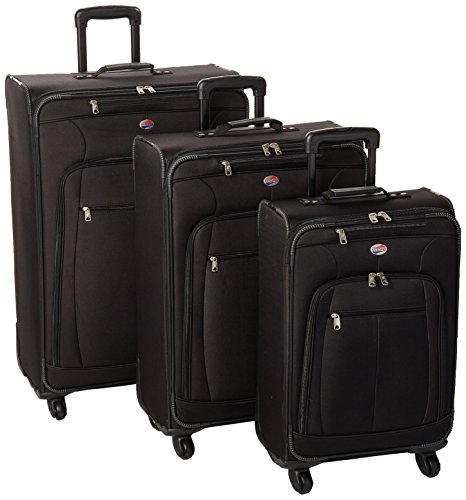 American Tourister AT Pops Plus Softside 3-Piece Spinner Wheel Luggage Set, Black, (21/25/29)