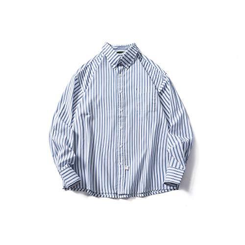 Katenyl Camisa a Rayas con Solapa para Hombre Tendencia Suelta Desplazamientos Diarios Ocio al Aire Libre Camisa básica con Todo fósforo Top con Bolsillo en el Pecho XL