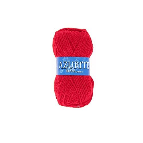 les colis noirs lcn Pelote de Laine Azurite 100% Acrylique Tricot Crochet Tricoter - Rouge - 156