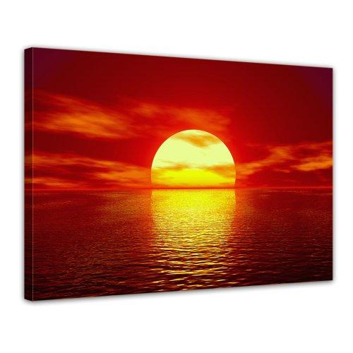 Bilderdepot24 Bild auf Leinwand   Sonne in 70x50 cm als Wandbild   Wand-deko Dekoration Wohnung modern Bilder   16113