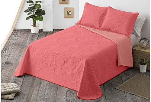 Energy Colors Textil-Hogar - Chill - Colcha Boutí Verano Reversible Liso Bicolor con 2 Funda Cojín 50 x 70 cm (Coral, 250 x 265 cm (Cama 150))