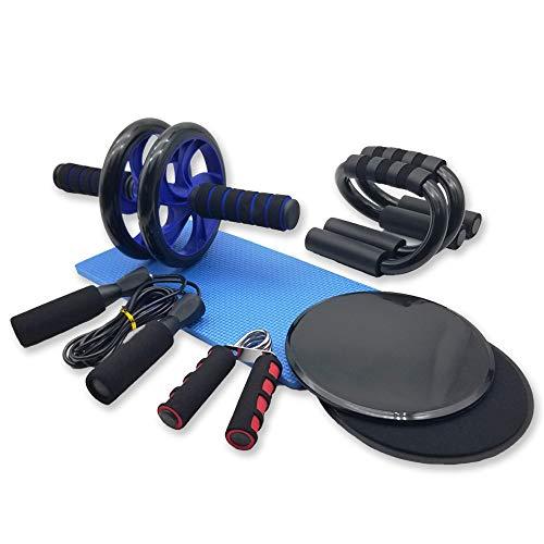 Azeekoom 8 in 1 Ab Wheel Bauchtrainer Set - Abdominal Roller Bauchroller + Anti-Rutsch-Knieschützer + 2 Gleitscheiben + 2 Liegestützgriffe + Handtrainer + Springseil, für Gewichtsverlust Fitness Übung