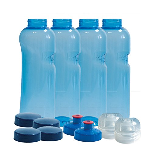 4 x Original Kavodrink Trinkflaschen aus TRITAN ohne Weichmacher im Sparset 4 x 0,75 Liter (rund) + 4 Standarddeckel + 2 Sportdeckel (FlipTop) + 2 Trinkdeckel (Push PULL) ohne Weichmacher  BPA frei