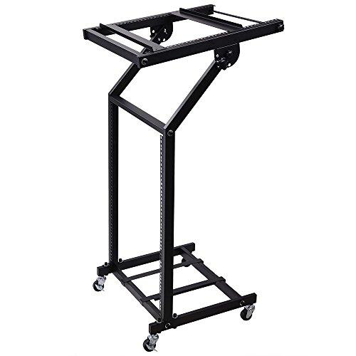 AW Rack Mount DJ Mixer Stand Studio Equipment Adjustable Stage Cart w/Wheel Music Party Show 16U