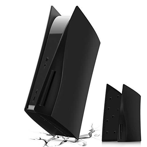 PS5 Plate PS5 Console Seitenplatten, Hart Stoßfest Playstation 5 Faceplate, ABS Kratzfeste Staubdichte PS5 Spiele Konsole Ersatzplatte Case Cover Shell für Sony PS5 Disc Edition Console - Schwarz