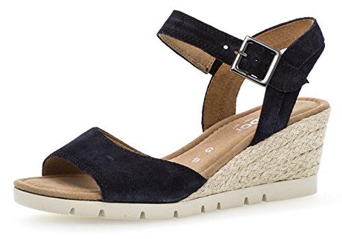 Gabor Damenschuhe 82.842.46 Damen Sandaletten, Sandalen, Sommerschuhe, Strandschuhe, mehr Raum Dank Comfort-Mehrweite Blau (Ocean (Jute)), UK 7
