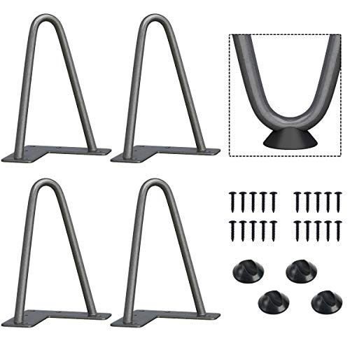 SMARTSTANDARD 6 Inch Heavy Duty Hairpin Furniture Legs, Metal Home DIY Projects for TV Stand, Sofa, Cabinet, etc with Rubber Floor Protectors Grey 4PCS