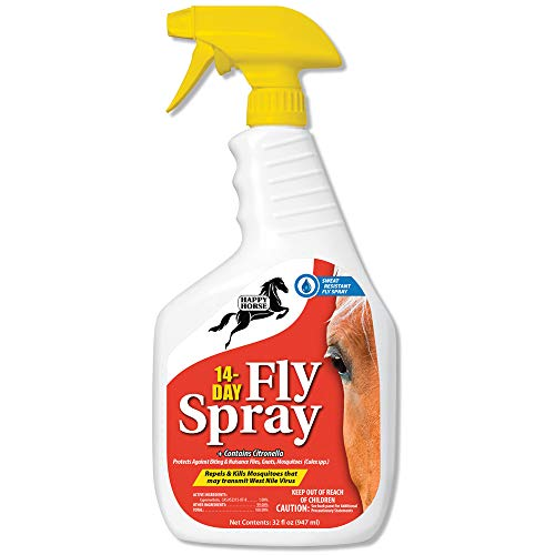 HARRIS Happy Horse 14-Day Fly Spray, Sweat and Weather Resistant Long Lasting Fly Spray, 32oz