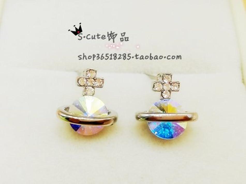 Saturn protein drill diamond stud earrings small earrings Ja and South Korea jewelry sweet Korean magazines, audience