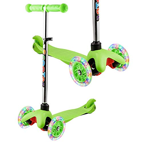 WeSkate - Patinete Infantil de 3 Ruedas para Principiantes, niños de 2 a 8 años, Mini Patinete con Ruedas Luminosas y Manillar Ajustable sobre 4 Niveles, Ligero y fácil de Transportar,Verde