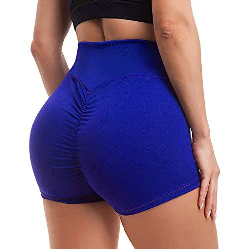 Andouy Stretch Hotpants Damen Mode Fitness Shorts Hohe Taille Kurz Yoga Hosen Laufshorts Sporthose(M.Blau)