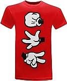 Rock Paper Scissors Cartoon Hands Men's Humor Funny T-Shirt - (Large) - Red