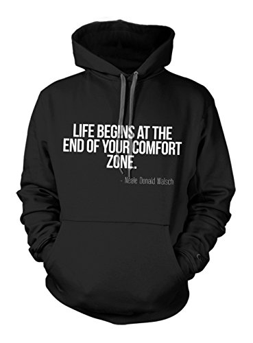 Life Begins at The End of Your Comfort Zone Motivation Zitat Hoodie Sweatshirt Schwarz X-Large