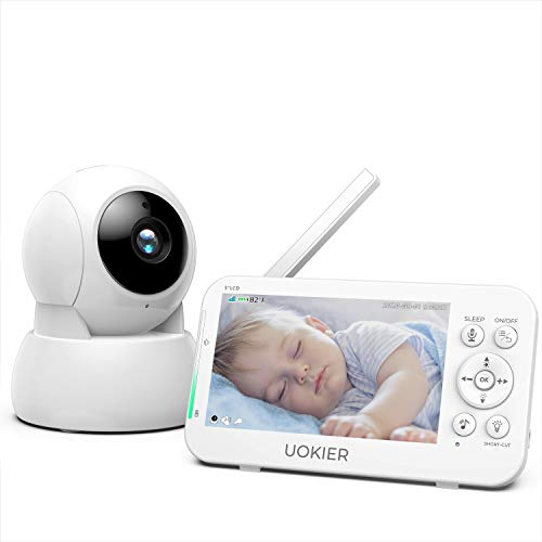 """Baby Monitor, UOKIER 1080P 5"""" HD Display Video Baby Monitor with Night Vision and Thermal Monitor, IPS Screen, 1200 ft Range, 5200mAh Battery, Two-Way Audio, One-Click Zoom, Ideal for New Moms"""