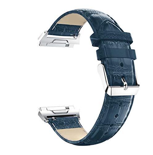 Lux Mary Uhrenarmband kompatibel mit Fitbit Ionic, Lederarmband Ersatz-Watch Armband mit Edelstahl Metall Schließe für Herren Damen (Blau)
