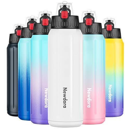 Newdora Trinkflasche Edelstahl, 600ml Edelstahl Trinkflasche BPA-Frei,Doppelwandige Wasserflasche mit Sieb, Auslaufsichere Sportflasche aus 316 Edelstahl für Kinder,Sport, Fahrrad,Schwarzblau