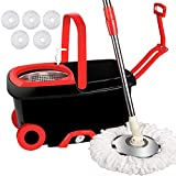 Product Image of the LETTON Microfiber Spin Mop and Bucket Set Stainless Steel Basket with 5 Microfiber Mop Heads and Two Wheels for Home Floor Cleaning Tools