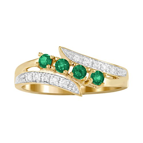 ArtCarved Starlight Simulated Emerald Birthstone Women's Ring, 10k Yellow Gold, Size 9