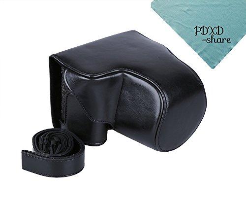 PDXD-share Kompakte Kameratasche PU-Leder Tasche für Canon Powershot SX520 SX530 HS Digitalkamera (Schwarz)