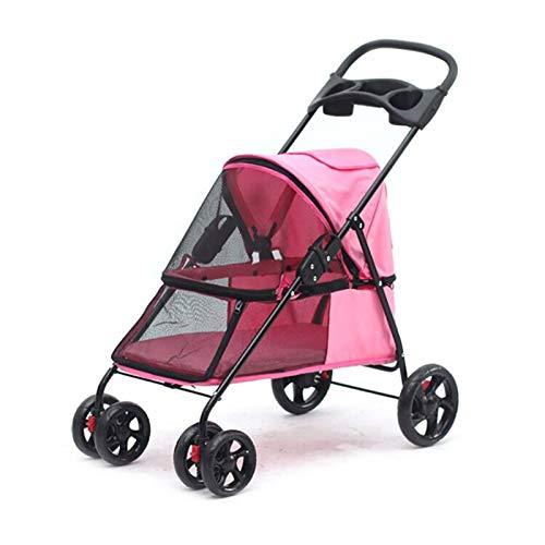 GWXTC Faltbarer Bollerwagen Faltbarer Haustierwagen für den Außenbereich Beweglicher tragbarer Hundekatzenwagen, 4 Räder Speicher Warenkorb, L32 * W75 * H93CM (Color : Pink)