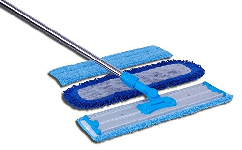 18' Professional Microfiber Mop | Adjustable Stainless Steel Handle | 3 Premium Mop Pads + 2 Free Microfiber Cloths | Perfect for Wet and Dust Mopping Hardwood, Laminate, Concrete, Tile, Stone, Vinyl