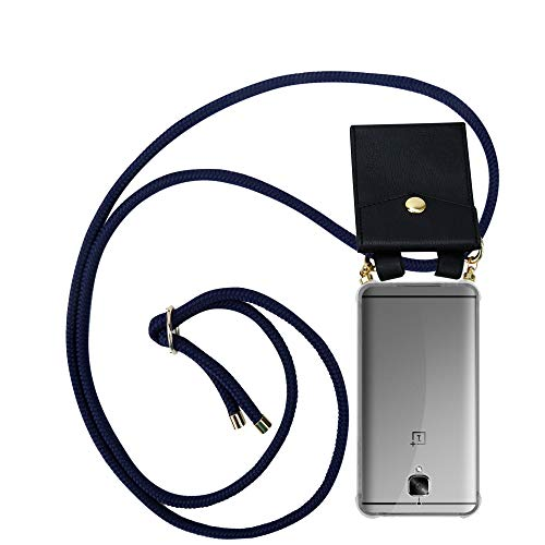 Cadorabo Handy Kette für OnePlus 3 / 3T in TIEF BLAU - Silikon Necklace Umhänge Hülle mit Gold Ringen, Kordel Band Schnur und abnehmbarem Etui – Schutzhülle
