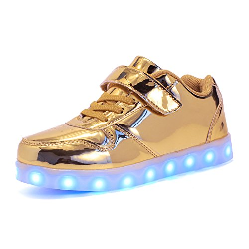 Voovix Unisex-Kinder Licht Schuhe mit Fernbedienung Led Leuchtende Blinkende Low-top Sneaker USB Aufladen Shoes für Mädchen und Jungen(Gold,EU32/CN32)