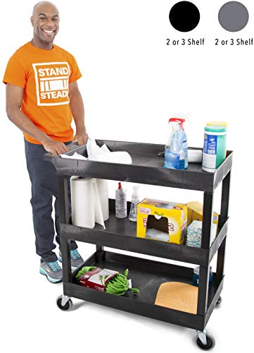 Original Tubstr 3 Shelf Utility Cart/Service Cart - Heavy Duty - Supports up to 400 lbs - Tub Carts w/Deep Shelves - Great for Warehouse, Garage, Cleaning and More (3 Shelf - 32 x 18 / Black)